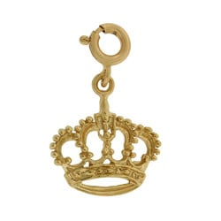 14k Yellow Gold Crown Charm