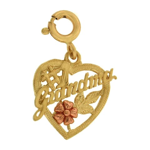 14k Gold #1 Grandma Heart Charm