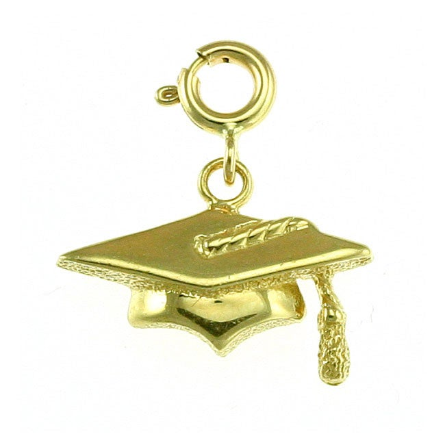 14k Yellow Gold Graduation Cap Charm