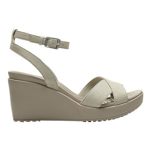 b6dd4d8a6fed Shop Women s Crocs Leigh II Ankle Strap Wedge Oatmeal Mushroom - Free  Shipping Today - Overstock - 20832667