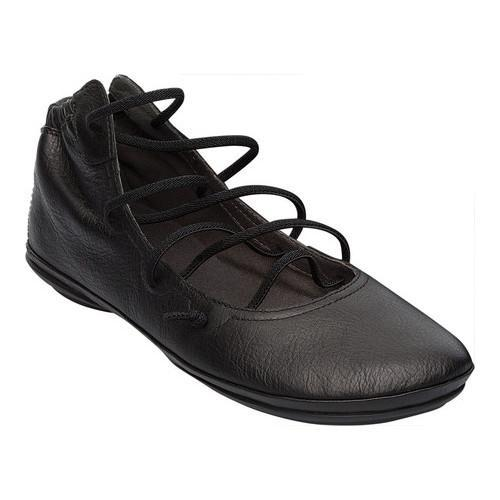 Women's Camper Right Nina Strappy Flat Black Textured Leather