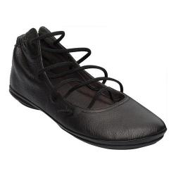 Women's Camper Right Nina Strappy Flat Black Textured Leather - Thumbnail 0