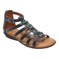 Women's Rockport Jamestown Gladiator Sandal Black Leather