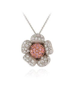 Icz Stonez Sterling Silver Two-tone Flower Pendant