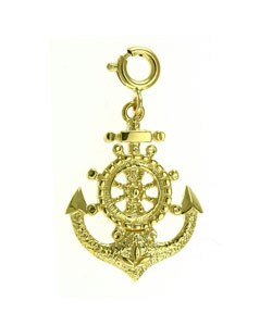 14k Yellow Gold Nautical Anchor Charm