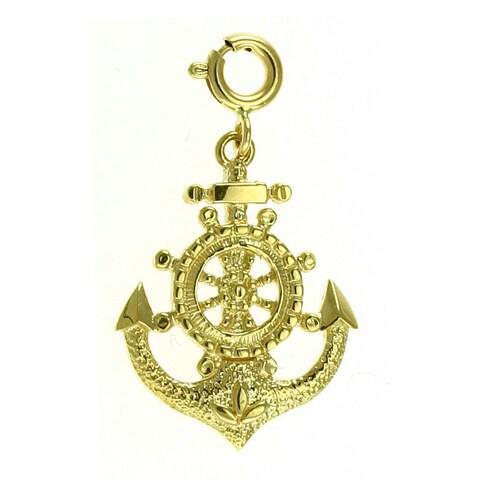 14k Yellow Gold Nautical Anchor Charm