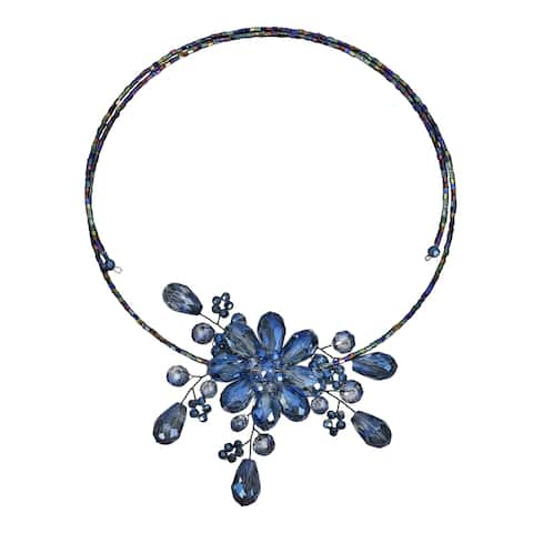 Handmade Glamorous Midnight Blue Floral Crystal Choker Wire Wrap Necklace (Thailand)
