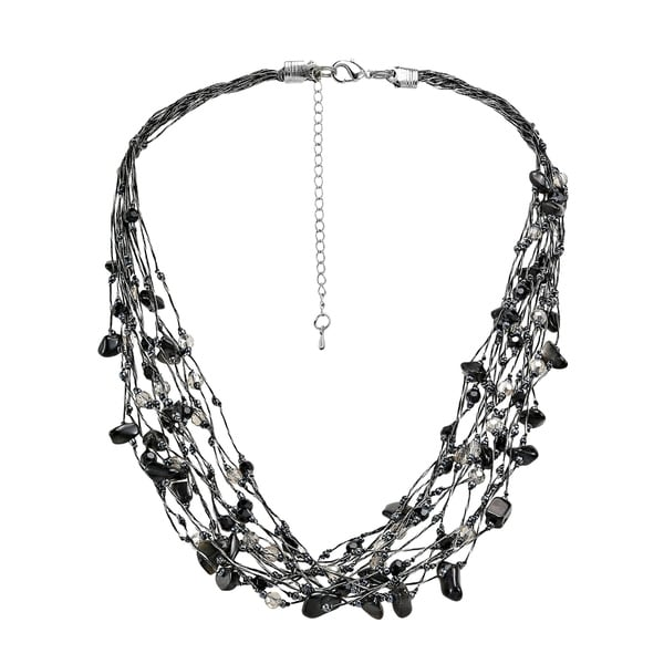 Handmade Elegant Crystals on Silk Multi-Layered Statement Necklace (Thailand)