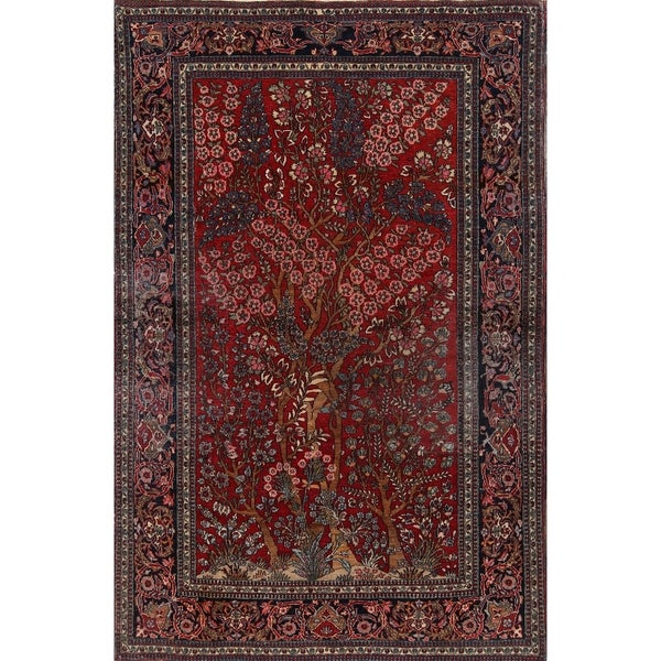 """Floral Hand Made Isfahan Persian Area Rug for Bedroom - 6'8"""" x 4'5"""""""