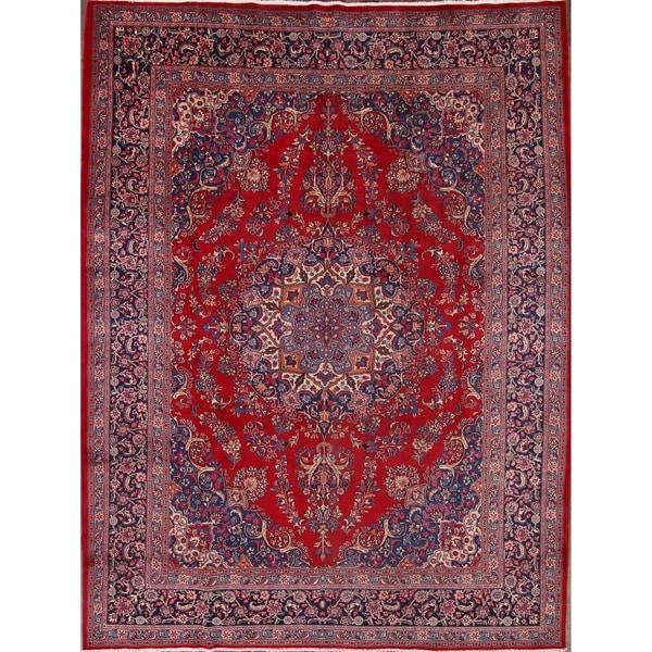 """Mashad Handmade Wool Vintage Persian Medallion Traditional Area Rug - 12'7"""" x 9'9"""""""