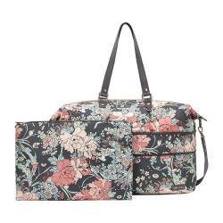 Women's Sakroots Orchard Travel Duffle Charcoal Flower Power