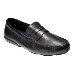 Men's Cole Haan Branson Penny Driver Black Tumbled Leather