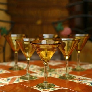 Handmade Set of 6 Amber Martini Glasses (Mexico)