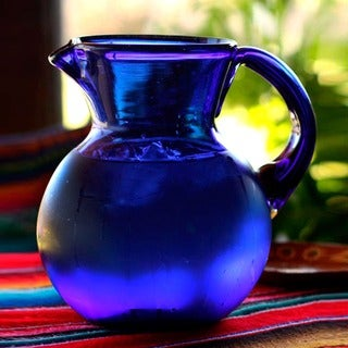 Cobalt Light Unique Blue Everyday or Special Occasion Tableware Perfect Hostess Gift Handblown Round Glass Pitcher (Mexico)
