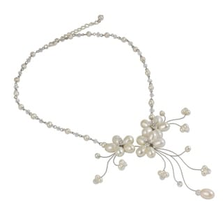 Bouquet Cascade Flowers of White Freshwater Pearls with Crystal Beads Adjustable Women's Choker (Thailand)