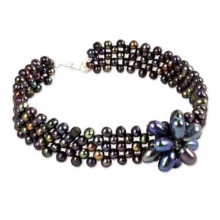 Purple Romance Vintage Look Dark Iridescent Flower Centers Beaded Adjustable Length Womens Pearl Cho