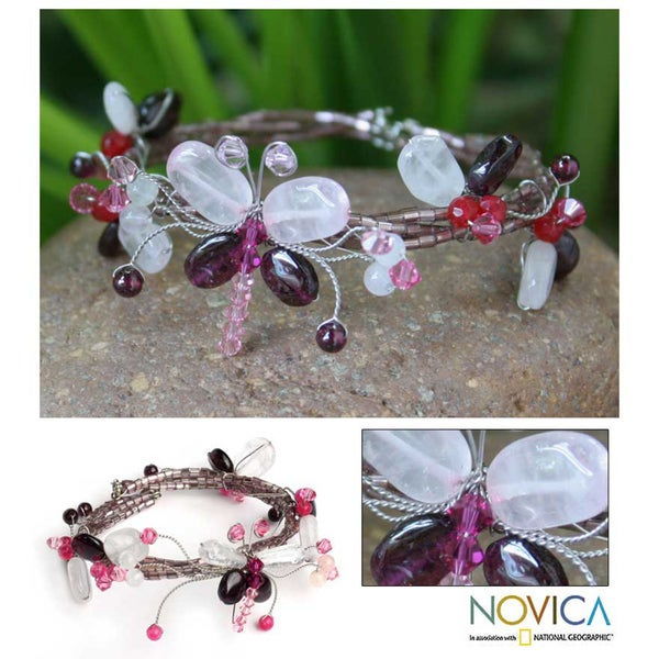 Handmade Garnet and Rose Quartz Bracelet (Thailand)