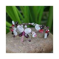 Handmade Garnet and Rose Quartz Bracelet (Thailand)