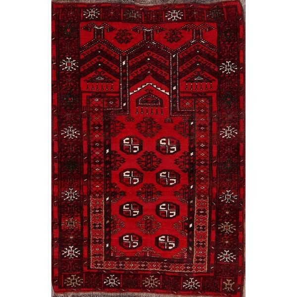 "Balouch Afghanistan Oriental Hand Made Traditional Area Rug - 3'9"" x 2'6"""