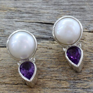 Pearl and Amethyst Flirting Moons Earrings (India)