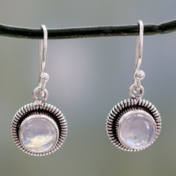 Moonlit Orbs Round Moonstones Set in Sterling Silver Bezels Dangle Earrings (India)