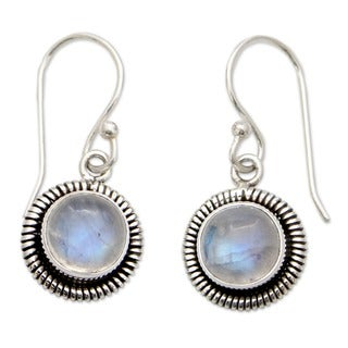 Moonlit Orbs Round Moonstones Set in Sterling Silver Bezels Dangle Earrings (India)