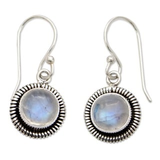 Moonlit Orbs Day or Evening Round Moonstone Gemstones Set in Elaborate 925 Sterling Silver Bezels Womens Dangle Earrings (India)
