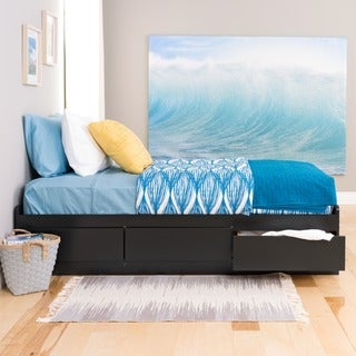 Black Twin Mate's Composite-Wood Platform Storage Bed with Three Drawers