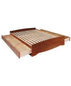 Cherry Queen Mate's 6-drawer Platform Storage Bed