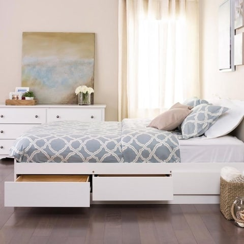 Winslow White Queen Platform Storage Bed