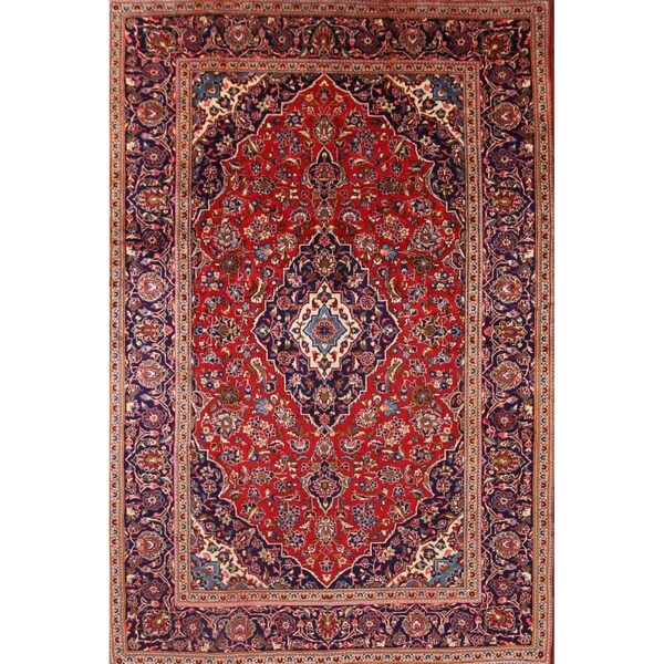 """Kashan Hand Knotted Wool Medallion Persian Area Rug For Bedroom - 12'0"""" x 8'0"""""""