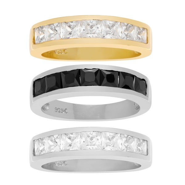 Sterling Silver Channel-Set Cubic Zirconia Wedding Ring Band