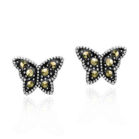 Handmade Cute Little Butterfly Marcasite & Sterling Silver Stud Earrings (Thailand)