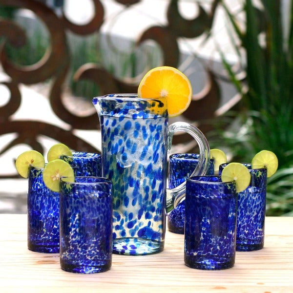 Handmade Set of 6 Marine Drinking Glasses (Mexico)