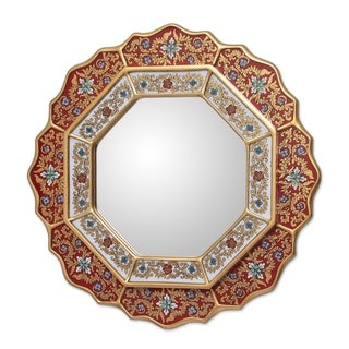 Handmade Red Star Mirror (Peru) - Multi - N/A