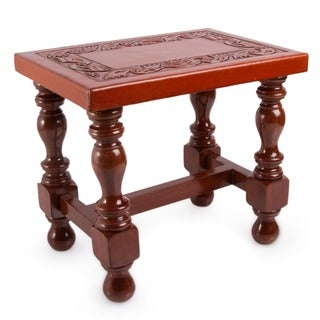 Inca Motif Rich Brown Hand Tooled Leather Top with Cedar Wood Turned Legs Traditional Rectangular Decorator Accent Table (Peru)