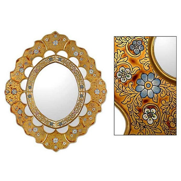 Sweet Flower Majesty Artisan Handmade Hand-Painted Floral Gold Turquoise Blue Accent Bedroom Bathroom Hall Wall Mirror (Peru)