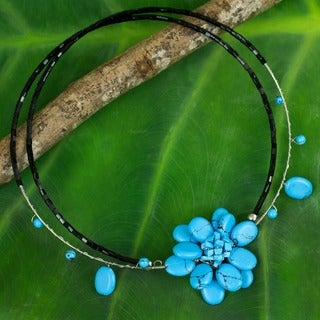Delicate in Blue Turquoise Resin Stone Flower on Double Black Flexible Wire Womens Beaded Fashion Ch