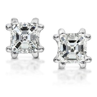 Annello by Kobelli 14k White Gold 1 1/4ct TDW Asscher Diamond Stud (H-I, SI1-SI2)