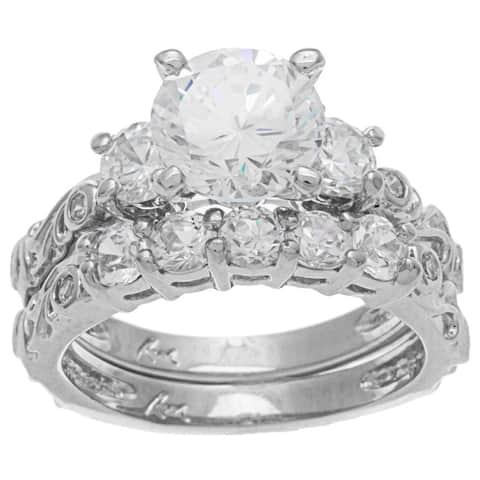 Roberto Martinez Sterling Silver Cubic Zirconia Wedding Ring Set