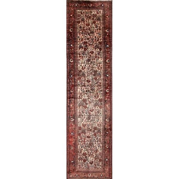 "Nahavand Traditional Hamadan Handmade Persian Rug - 12'10"" x 3'2"" runner"