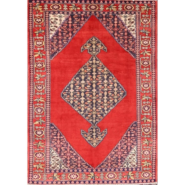 """Ardebil Persian Vintage Area Rug Hand Knotted Red - 8'10"""" x 6'2"""""""