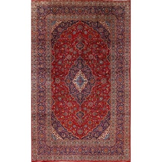 "Kashan Hand Knotted Persian Area Rug For Dining Room Wool - 12'9"" x 7'10"""