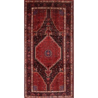 "Vintage Geometric Handmade Wool Hamadan Traditional Persian Area Rug - 10'6"" x 5'3"""