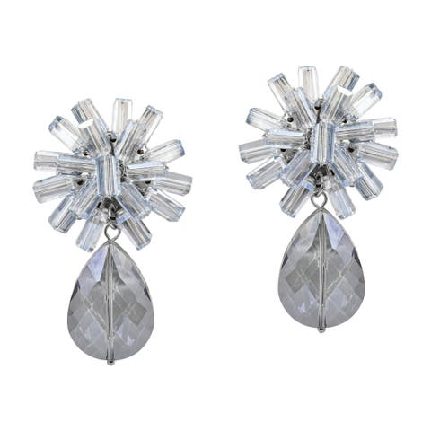 c5e351025 Handmade Sparkling Cluster & Crystal Teardrop Clip-On Dangle Earrings  (Thailand)