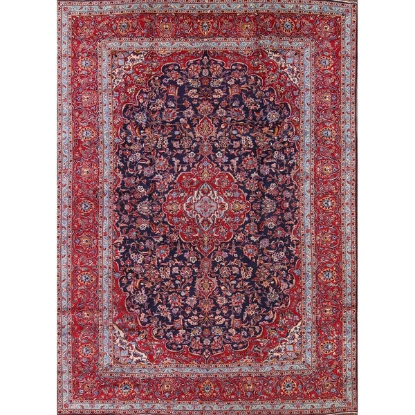 "Navy Blue Floral Kashan Persian Area Rug Living Room - 13'5"" x 9'8"""