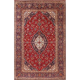 "Kashan Hand Knotted Wool Medallion Persian Area Rug For Living Room - 11'7"" x 7'8"""