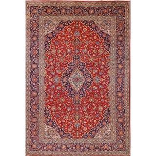 "Medallion Kashan Handmade Wool Vintage Persian Area Rug For Bedroom - 12'9"" x 8'6"""