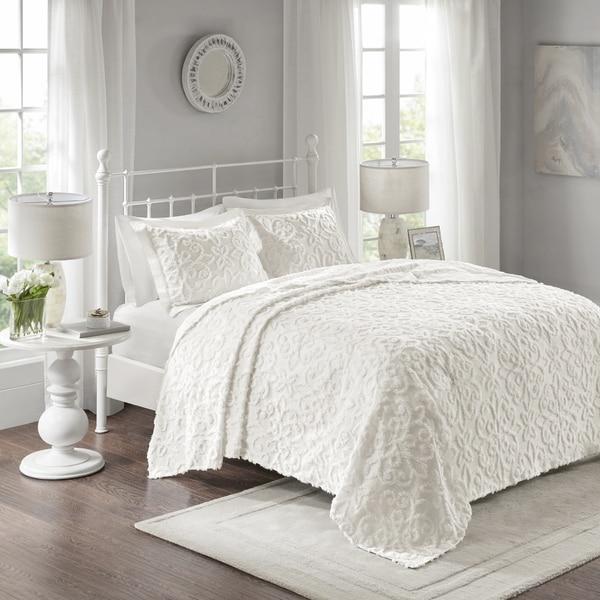 Shop Julien White Cotton Chenille Oversized Bedspread Set