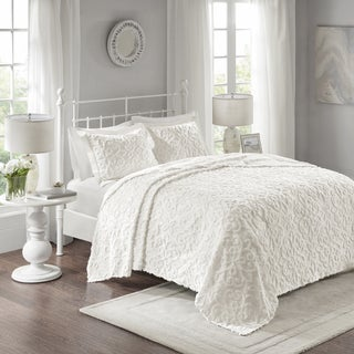 Maison Rouge Julien White Cotton Chenille Oversized Bedspread Set King - Cal King Size (As Is Item)